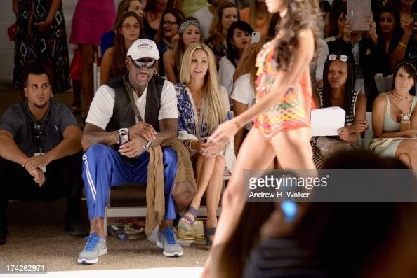 Dennis Rodman Lisa Pliner and Alexis Rodman attend the Anna Kosturova/Beach Riot/Lolli Swim/Manglar/Indah show during MercedesBenz Fashion Week Swim...