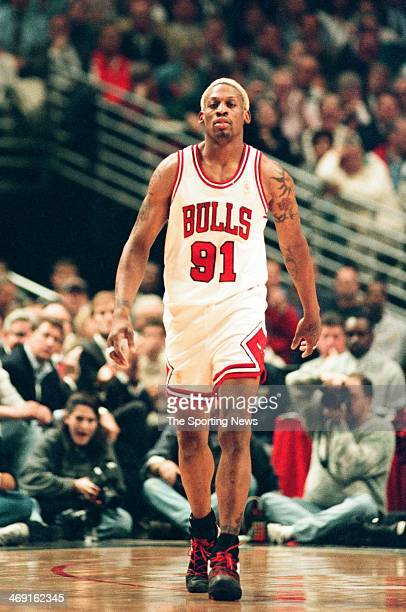 Dennis Rodman of the Chicago Bulls during the game against the Atlanta Hawks on May 13 1997 at The Omni Coliseum in Atlanta Georgia