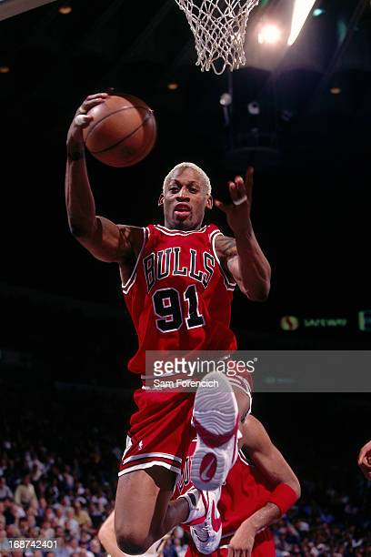 Dennis Rodman of the Chicago Bulls rebounds against the Golden State Warriors circa 1996 at the OaklandAlameda County Coliseum Arena in Oakland...