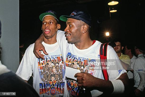 Dennis Rodman of the Detroit Pistons celebrates after defeating the Los Angeles Lakers in four games to win the NBA Championship on June 13 1989 at...