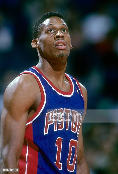 Dennis Rodman of the Detroit Pistons in this portrait looking up at the basket circa 1988 during an NBA basketball game against the Washington...