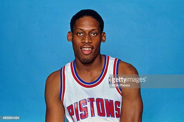 Dennis Rodman of the Detroit Pistons poses for a portrait circa 1991 at The Palace of Auburn Hills in Auburn Hills MI NOTE TO USER User expressly...