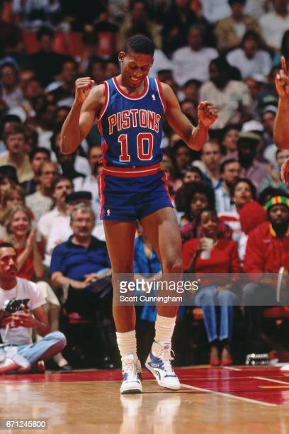 Dennis Rodman of the Detroit Pistons reacts against the Atlanta Hawks during a game played circa 1990 at the Omni in Atlanta Georgia NOTE TO USER...