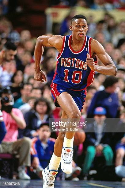 Dennis Rodman of the Detroit Pistons runs against the New York Knicks circa 1991 at Madison Square Garden in New York NOTE TO USER User expressly...