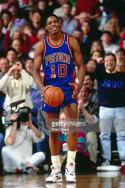 Dennis Rodman of the Detroit Pistons walks against the Portland Trailblazers during a game played at Memorial Coliseum in Portland Oregon circa 1991...