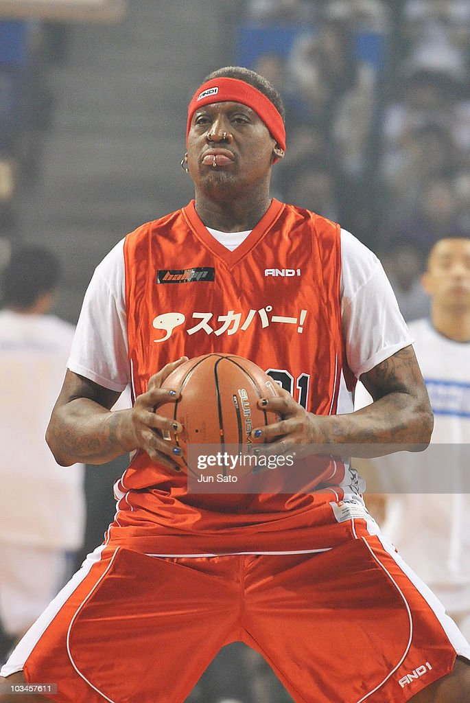 Dennis Rodman performs during the 'Street2Elite' street basketball event at Ariake Colosseum on August 19 2010 in Tokyo Japan
