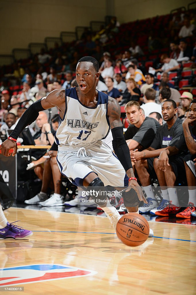 Dennis Schröder #17 of the Atlanta Hawks dribbles the ball versus the Sacramento Kings during NBA Summer League on July 19, 2013 at the Cox Pavilion in Las Vegas, Nevada.