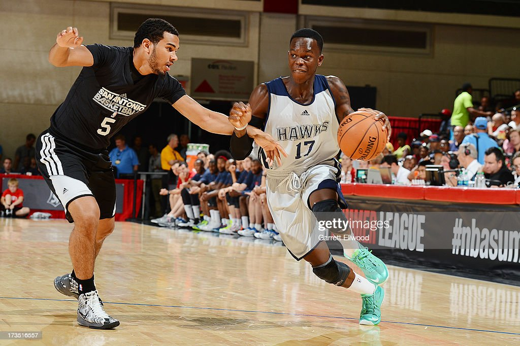 Dennis Schröder #17 of the Atlanta Hawks drives to the hoop against the San Antonio Spurs during NBA Summer League on July 15, 2013 at the Cox Pavilion in Las Vegas, Nevada.