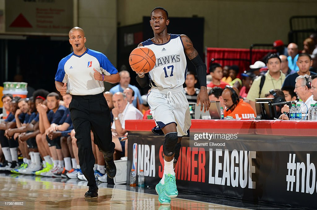 Dennis Schröder #15 of the Atlanta Hawks drives up the court against the San Antonio Spurs during NBA Summer League on July 15, 2013 at the Cox Pavilion in Las Vegas, Nevada.
