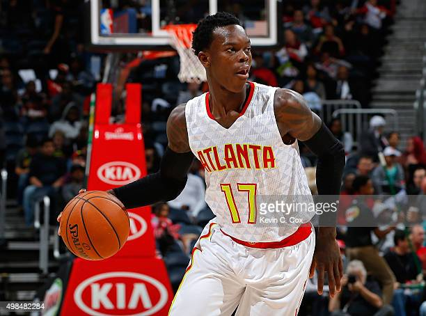 Dennis Schroder of the Atlanta Hawks against the Sacramento Kings at Philips Arena on November 18 2015 in Atlanta Georgia NOTE TO USER User expressly...