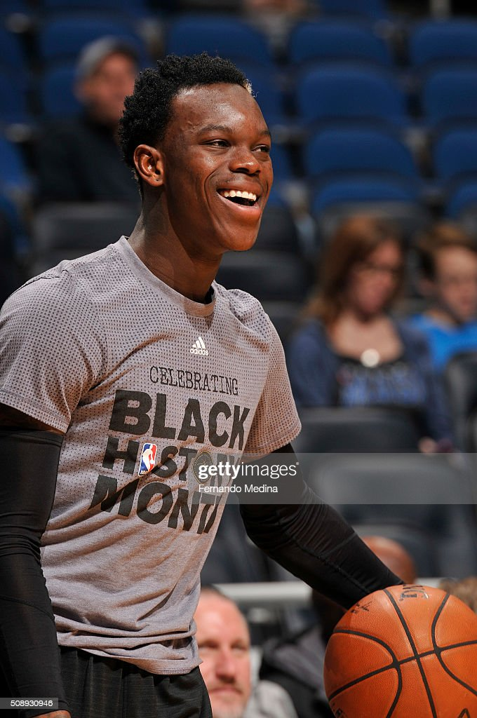Dennis Schroder #17 of the Atlanta Hawks before the game against the Orlando Magic on February 7, 2016 at the Amway Center in Orlando, Florida.