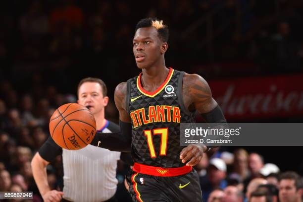 Dennis Schroder of the Atlanta Hawks dribbles up the court against the New York Knicks at Madison Square Garden on December 10 2017 in New York New...