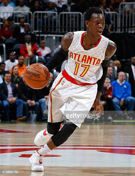 Dennis Schroder of the Atlanta Hawks drives against the Washington Wizards at Philips Arena on March 21 2016 in Atlanta Georgia NOTE TO USER User...