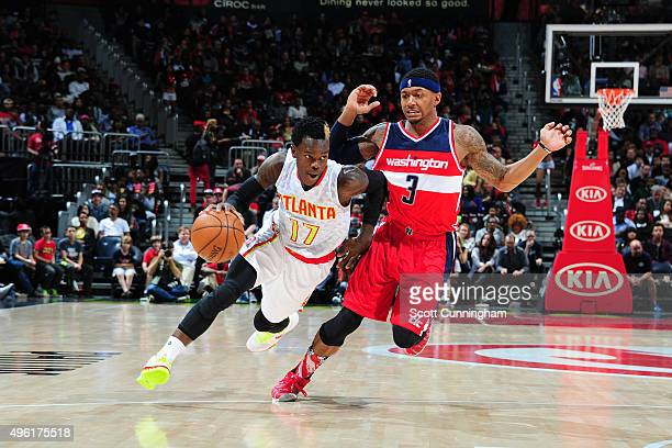 Dennis Schroder of the Atlanta Hawks drives to the basket against the Washington Wizards during the game on November 7 2015 at Philips Arena in...