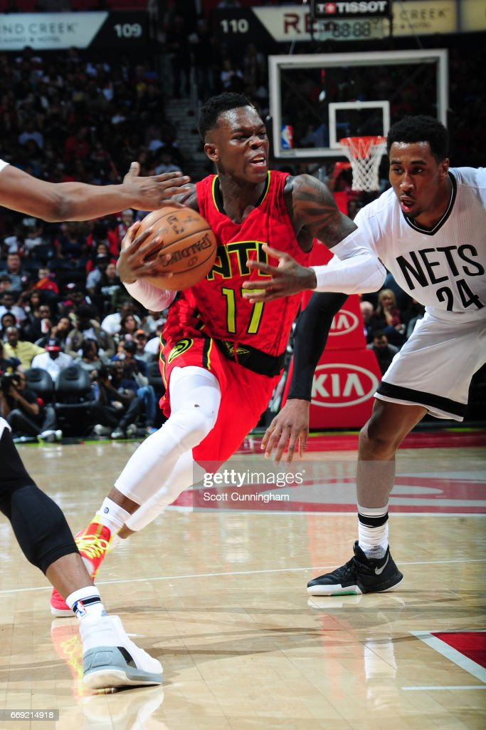 Dennis Schroder #17 of the Atlanta Hawks drives to the basket against the Brooklyn Nets on March 26, 2017 at Philips Arena in Atlanta, Georgia.