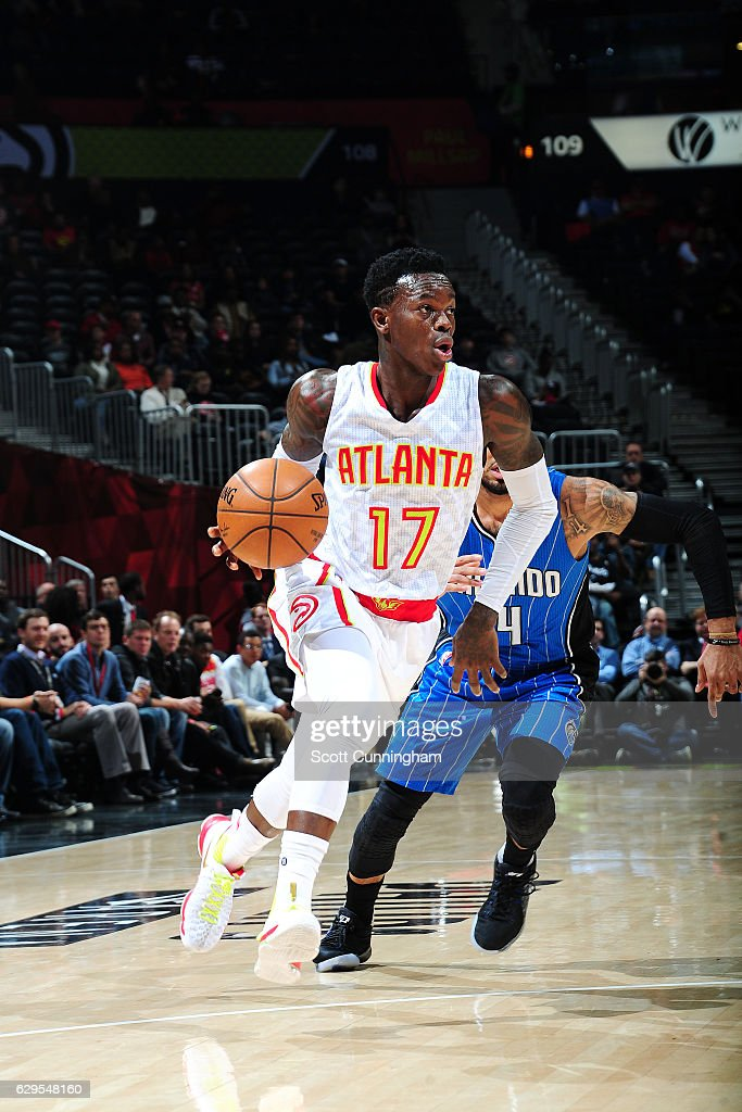 ... Dennis Schroder 17 of the Atlanta Hawks drives to the basket during the  game against ... 2b38bb8e9