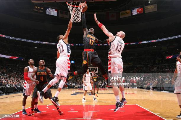 Dennis Schroder of the Atlanta Hawks dunks the ball against the Washington Wizards during Game Two of the Eastern Conference Quarterfinals of the...