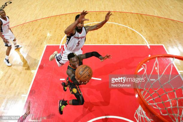 Dennis Schroder of the Atlanta Hawks goes for a lay up during the game against the Washington Wizards during the Eastern Conference Quarterfinals of...