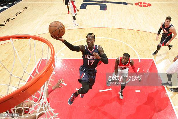 Dennis Schroder of the Atlanta Hawks goes up for a shot against the Washington Wizards in Game Three of the Eastern Conference Semifinals of the 2015...