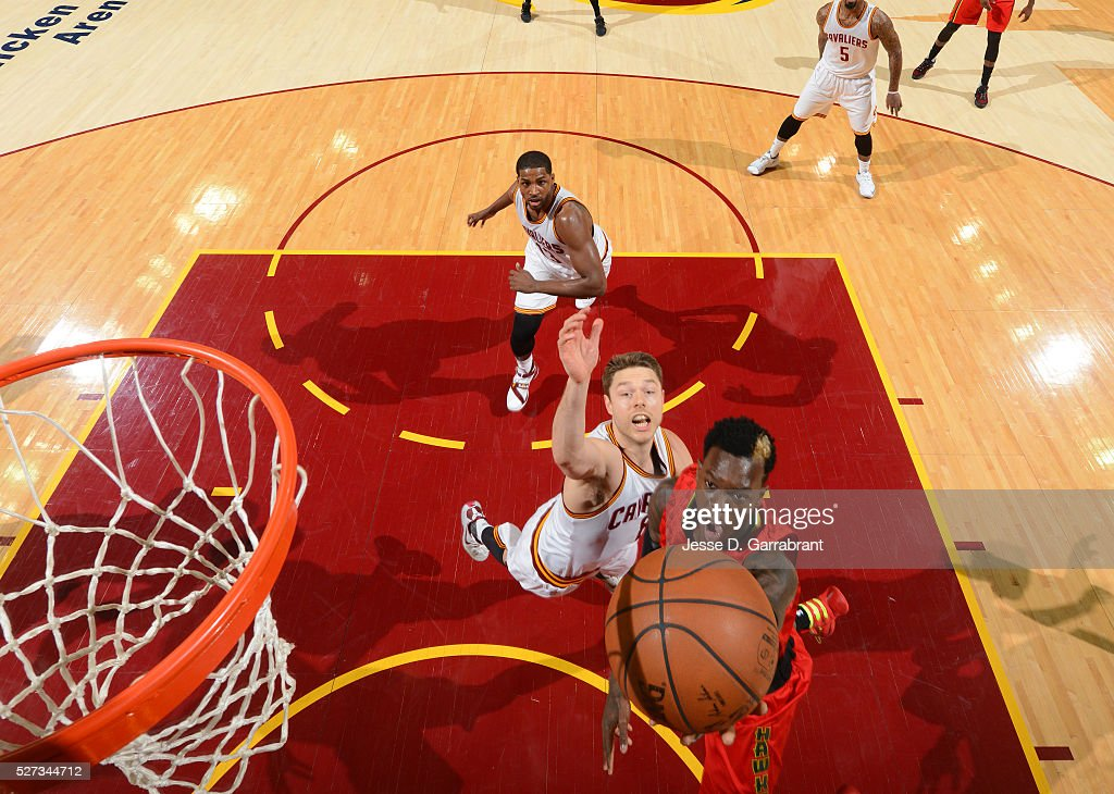 Dennis Schroder #15 of the Atlanta Hawks goes up for the layup against the Cleveland Cavaliers during the Eastern Conference Semifinals Game One on May 2, 2016 at The Quicken Loans Arena in Cleveland, Ohio.