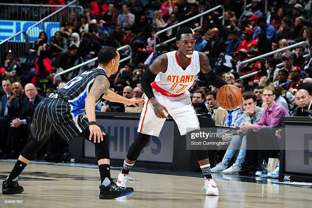 Dennis Schroder #17 of the Atlanta Hawks handles the ball against the Orlando Magic on February 8, 2016 at Philips Arena in Atlanta, Georgia.