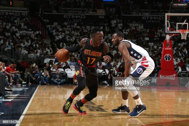 Dennis Schroder of the Atlanta Hawks handles the ball against the Washington Wizards during the Eastern Conference Quarterfinals of the 2017 NBA...