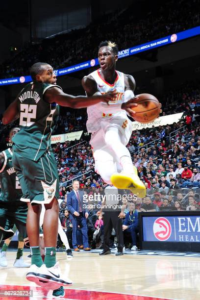 Dennis Schroder of the Atlanta Hawks handles the ball against the Milwaukee Bucks on October 29 2017 at Philips Arena in Atlanta Georgia NOTE TO USER...