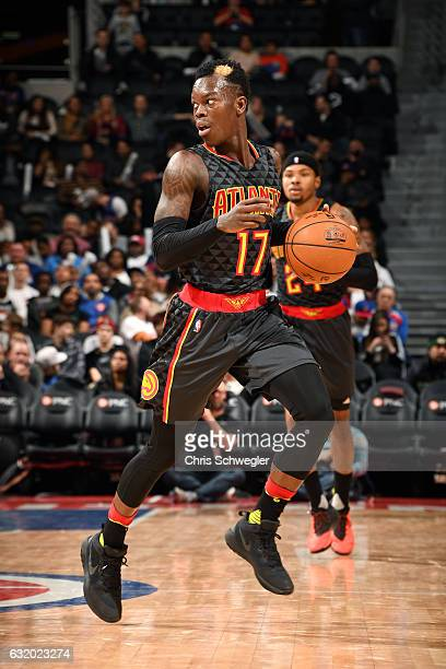 Dennis Schroder of the Atlanta Hawks handles the ball during the game against the Detroit Pistons on January 18 2017 at The Palace of Auburn Hills in...