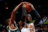 Dennis Schroder of the Atlanta Hawks has his shot blocked by Khris Middleton of the Milwaukee Bucks in the second overtime of their 117109 loss at...