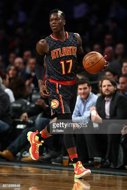 Dennis Schroder of the Atlanta Hawks in action against the Brooklyn Nets during their game at the Barclays Center on January 10 2017 in New York City...