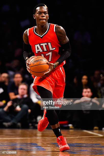 Dennis Schroder of the Atlanta Hawks in action during the first round of the 2015 NBA Playoffs against the Brooklyn Nets at Barclays Center on April...