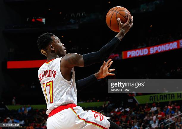 Dennis Schroder of the Atlanta Hawks lays in a basket against the Boston Celtics in Game Two of the Eastern Conference Quarterfinals during the 2016...