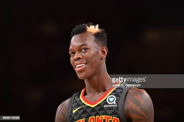 Dennis Schroder of the Atlanta Hawks looks on against the New York Knicks at Madison Square Garden on December 10 2017 in New York New York NOTE TO...