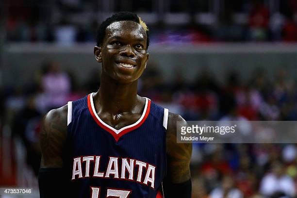 Dennis Schroder of the Atlanta Hawks looks on against the Washington Wizards during the second half at Verizon Center on May 15 2015 in Washington DC...
