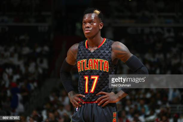 Dennis Schroder of the Atlanta Hawks looks on during the game against the Washington Wizards during the Eastern Conference Quarterfinals of the 2017...