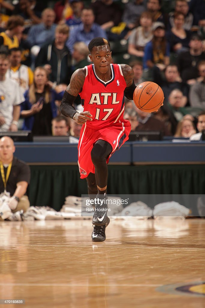 Dennis Schroder #17 of the Atlanta Hawks moves the ball up-court against the Indiana Pacers at Bankers Life Fieldhouse on February 18, 2014 in Indianapolis, Indiana.