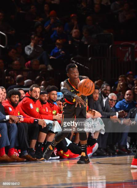 Dennis Schroder of the Atlanta Hawks passes the ball against the New York Knicks at Madison Square Garden on December 10 2017 in New York New York...
