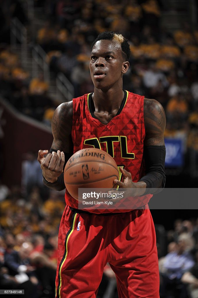 Dennis Schroder #17 of the Atlanta Hawks shoots a free throw against the Cleveland Cavaliers in Game One of the Eastern Conference Semifinals of the 2016 NBA Playoffs on May 2, 2016 at The Quicken Loans Arena in Cleveland, Ohio.