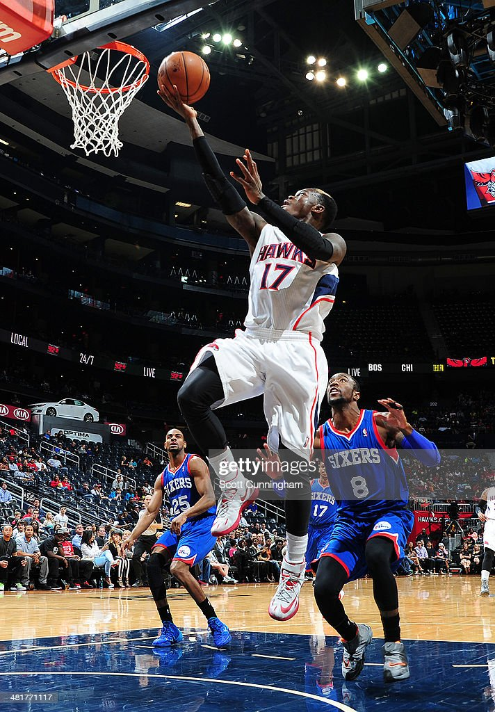 Dennis Schroder #17 of the Atlanta Hawks shoots against the Philadelphia 76ers on March 31, 2014 at Philips Arena in Atlanta, Georgia.