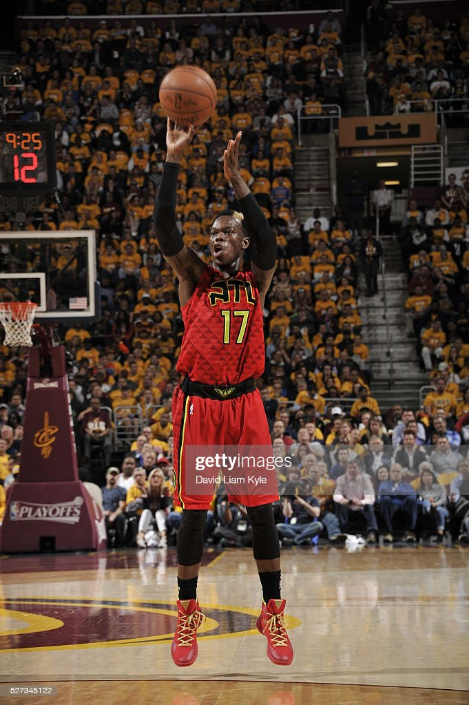 Dennis Schroder #17 of the Atlanta Hawks shoots the ball against the Cleveland Cavaliers in Game One of the Eastern Conference Semifinals of the 2016 NBA Playoffs on May 2, 2016 at The Quicken Loans Arena in Cleveland, Ohio.
