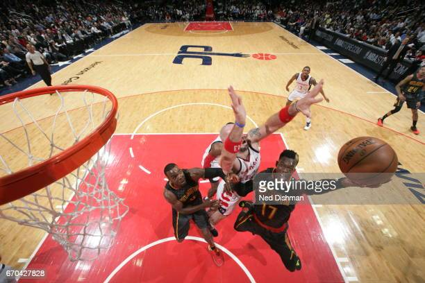 Dennis Schroder of the Atlanta Hawks shoots the ball against the Washington Wizards during Game Two of the Eastern Conference Quarterfinals of the...