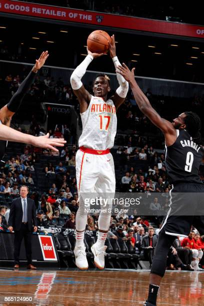 Dennis Schroder of the Atlanta Hawks shoots the ball during the game against the Brooklyn Nets on October 22 2017 at Barclays Center in Brooklyn New...