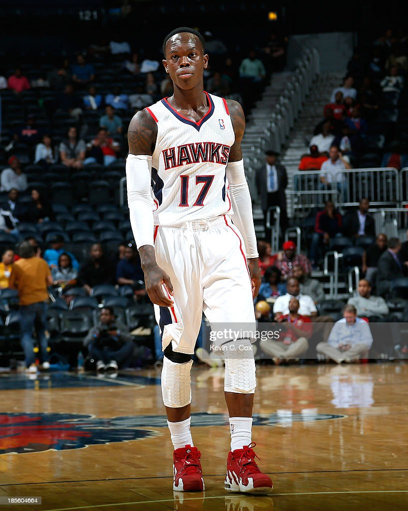 Dennis Schroder #17 of the Atlanta Hawks waits for the ball to be inbounds against the Indiana Pacers at Philips Arena on October 22, 2013 in Atlanta, Georgia.