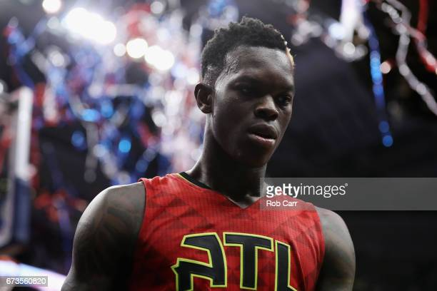 Dennis Schroder of the Atlanta Hawks walks off the court following the Hawks 10399 loss to the Washington Wizards in Game Five of the Eastern...