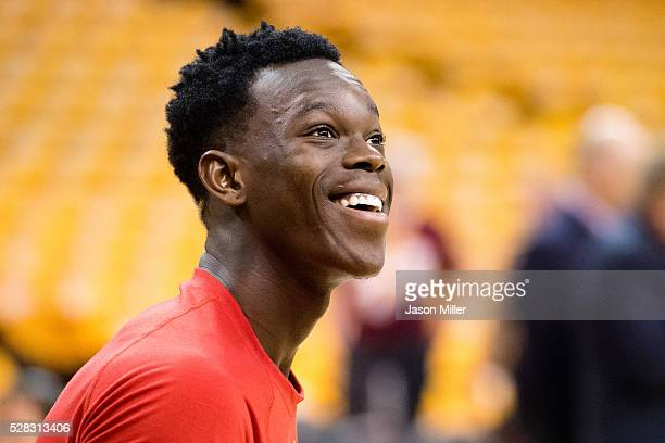 Dennis Schroder of the Atlanta Hawks warms up prior to the NBA Eastern Conference semifinals game against against the Cleveland Cavaliers at Quicken...