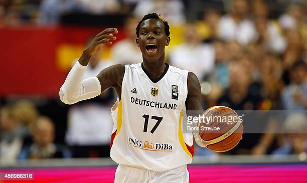 Dennis Schroeder of Germany gestures during the FIBA EuroBasket 2015 Group B basketball match between Germany and Iceland at Arena of EuroBasket 2015...