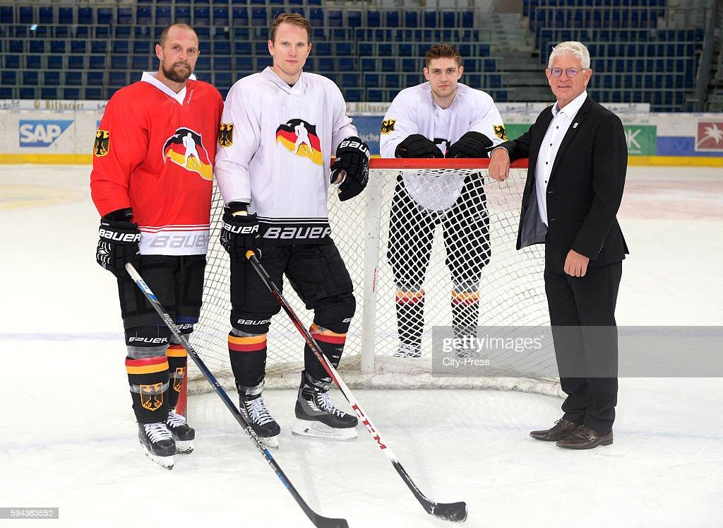 Dennis Seidenberg Christian Ehrhoff Leon Draisaitl of Team Germany and DEB president Franz Reindl attend a World Cup of Hockey 2016 presentation at...