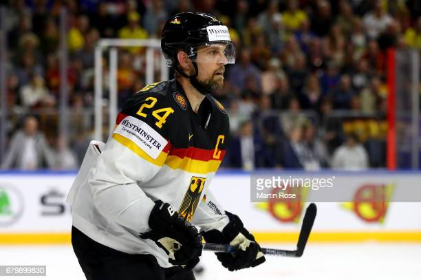 Dennis Seidenberg of Germany reacts during the 2017 IIHF Ice Hockey World Championship game between Germany and Sweden at Lanxess Arena on May 6 2017...