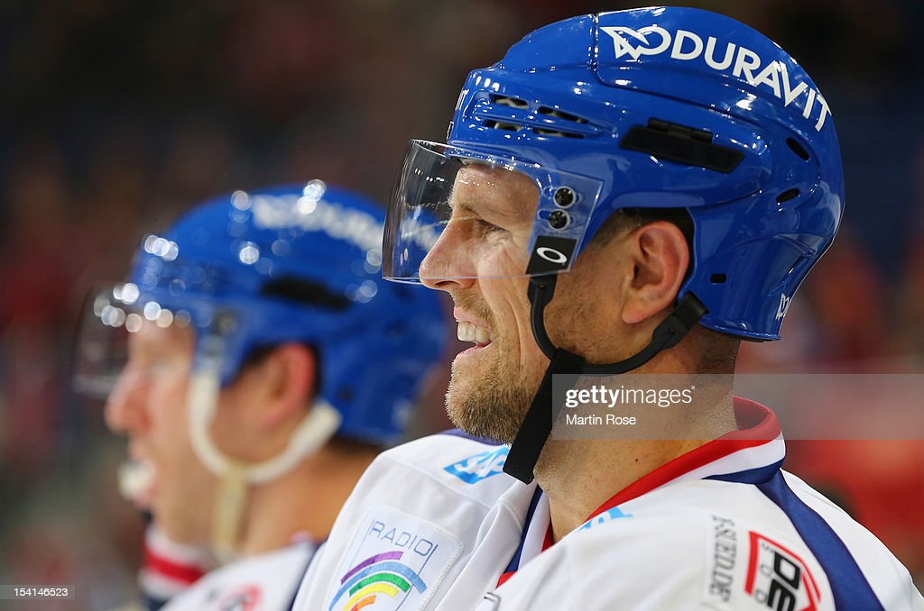 Dennis Seidenberg of Mannheim looks on during the DEL match between Hannover Scorpions and Adler Mannheim at TUI Arena on October 14, 2012 in Hanover, Germany.
