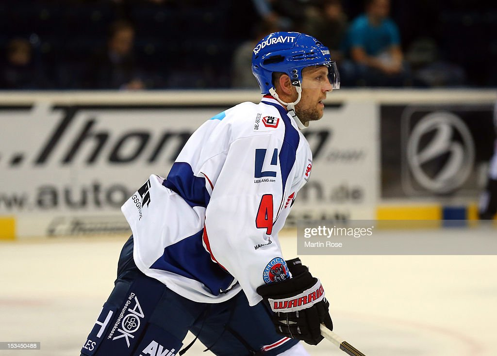<a gi-track='captionPersonalityLinkClicked' href=/galleries/search?phrase=Dennis+Seidenberg&family=editorial&specificpeople=204616 ng-click='$event.stopPropagation()'>Dennis Seidenberg</a> of Mannheim reacts during the DEL match between Hamburg Freezers and Adler Mannheim at O2 World on October 5, 2012 in Hamburg, Germany.